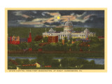 Moon over State Capitol, Harrisburg, Pennsylvania Prints
