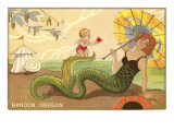 Mermaid with Parasol, Bandon, Oregon Posters
