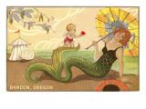 Mermaid with Parasol, Bandon, Oregon Print