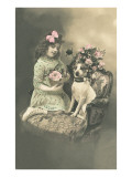 Victorian Girl with Fox Terrier Posters