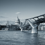St. Paul's Cathedral and Millennium Bridge, London, England Photographic Print by Jon Arnold