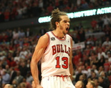 Miami Heat v Chicago Bulls - Game Five, Chicago, IL - MAY 26: Joakim Noah Photographic Print by Jeyhoun Allebaugh