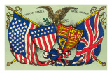 United States, Great Britain, Flags and Seals Poster
