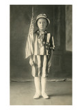 Young Boy in Flag Suit Posters
