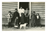 Midwest Immigrant Family with Dog Print