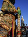 Thailand, Bangkok, Wat Arun, Temple of Dawn, Temple Guardian Statue Photographic Print by Steve Vidler