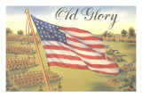 Old Glory, Flag with World War I Soldiers Photo