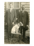Father and Son on the Farm with Dog Poster