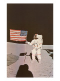 Astronaut with Flag on Moon Posters