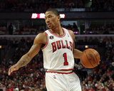 Miami Heat v Chicago Bulls - Game Five, Chicago, IL - MAY 26: Derrick Rose Photographic Print by Mike Ehrmann
