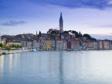 Croatia, Istria, Rovinj, Rovinj Town View with the Cathedral of St. Euphemia Photographic Print by Walter Bibikow