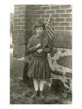 Young Girl Holding Flag Prints