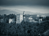 Black and White Image of Alhambra Palce, Granada, Andalucia, Spain Photographic Print by Alan Copson