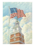 Flag over Indepence Hall, Philadelphia, Pennsylvania Prints
