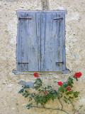 Window Shutters and Roses, Roquefixade, Ariege, Midi-Pyrenees, France Photographic Print by Doug Pearson