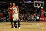 Miami Heat v Chicago Bulls - Game Five, Chicago, IL - MAY 26: Dwyane Wade and Derrick Rose Photographic Print by Mike Ehrmann