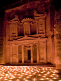 Candle Lit Courtyard of the Treasury (Al Khazneh), Petra (Unesco World Heritage Site), Jordan Photographic Print by Michele Falzone