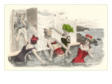 Man Snapping Picture of Bathing Beauties Print