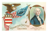 Washington Birthday Greetings Prints