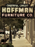 USA, Alabama, Mobile, Dauphin Street, Old Neon Sign for Hoffman Furniture Photographic Print by Walter Bibikow