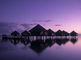 Beach Bungalows, Punaauia, Tahiti, French Polynesia Photographic Print by Walter Bibikow
