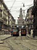 Walter Bibikow - Italy, Lombardy, Milan, Milan Trams on Via Orefici with Castello Sforzesco, Dawn Fotografická reprodukce