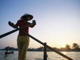 Boat Woman on Mekong River / Sunrise, Cantho, Mekong Delta, Vietnam Photographic Print by Steve Vidler