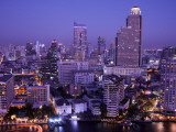 Thailand, Bangkok, City Skyline and Chao Phraya River at Night Photographic Print by Steve Vidler