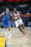 Dallas Mavericks v Oklahoma City Thunder - Game Three, Oklahoma City, OK - MAY 21: Serge Ibaka and  Photographic Print by Layne Murdoch