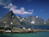 Town View with Fisherman's Cabins (Rorbus), Sakrisoy, Lofoten Islands, Norway Photographic Print by Steve Vidler