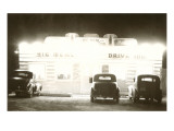 Drive-In Glowing at Night, Roadside Retro Print
