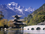 China, Yunnan Province, Lijiang, Black Dragon Pool Park and Jade Dragon Snow Mountain Photographic Print by Peter Adams