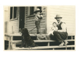 Farm Family on Porch with Dog Poster