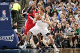 Portland Trail Blazers v Dallas Mavericks - Game One, Dallas, TX - APRIL 16: Dirk Nowitzki and LaMa Photographic Print by Glenn James