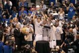 Oklahoma City Thunder v Dallas Mavericks - Game Five, Dallas, TX - MAY 25: Dirk Nowitzki, Mark Cuba Photographic Print by Glenn James