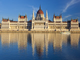Hungarian Parliament Building and River Danube, Budapest, Hungary Photographic Print by Doug Pearson