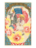 Children with Flag and Pistol, Hurrah Print