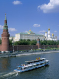 The Kremlin and Moskva River with Tourist Boat, Moscow, Russia Photographic Print by Steve Vidler