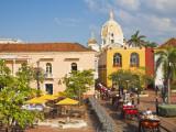 Colombia, Bolivar, Cartagena De Indias, Plaza Santa Teresa, Horse Carts Photographic Print by Jane Sweeney