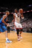 Dallas Mavericks v Miami Heat - Game One, Miami, FL - MAY 31: Chris Bosh and Tyson Chandler Photographic Print by Andrew Bernstein