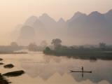 Li River and Limestone Mountains and River,Yangshou, Guangxi Province, China Photographic Print by Steve Vidler