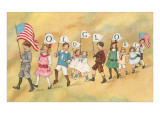 Children with Pennants, Old Glory Posters