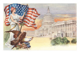 Columbia with Flag on Capitol Hill Poster