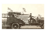 Old Fire Truck with American Flags Prints