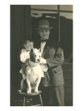 Man and Boy with Pit Bull Terrier Posters
