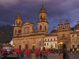 Colombia, Bogota, Plaza De Bolivar, Neoclassical Cathedral Primada De Colombia at Christmas Fotografiskt tryck av Jane Sweeney