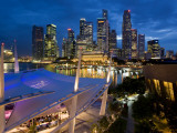 City View at Dusk from the Roof Top Promenade of Esplanade Theatres on the Bay, Singapore. Photographic Print by Peter Adams
