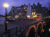 Keizersgracht Canal at Night, Amsterdam, Holland Fotodruck von Peter Adams