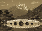 China, Yunnan Province, Lijiang, Black Dragon Pool Park and Jade Dragon Snow Mountain Photographic Print by Walter Bibikow