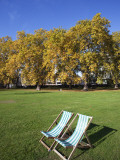 England, London, Green Park, Autumn Leaves and Deck Chairs Photographic Print by Steve Vidler
